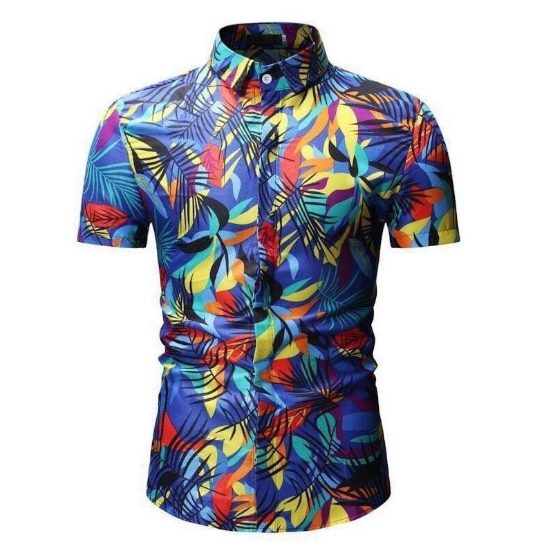 Kemeja Batik Corak Bunga Lelaki Men\'s Casual Summer Floral Shirt Code-48