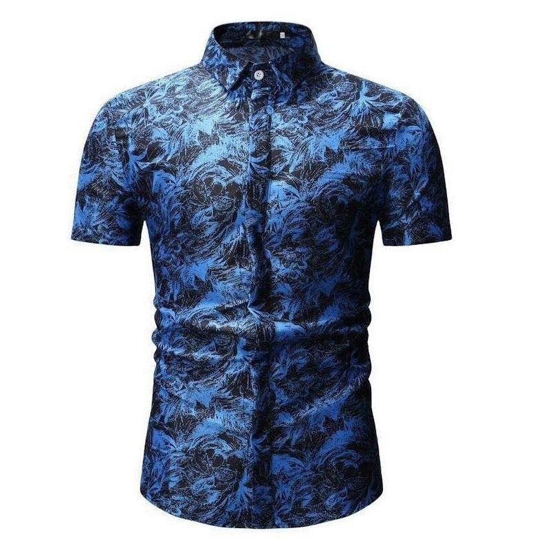 Kemeja Batik Corak Bunga Lelaki Men\'s Casual Summer Floral Shirt Code-46