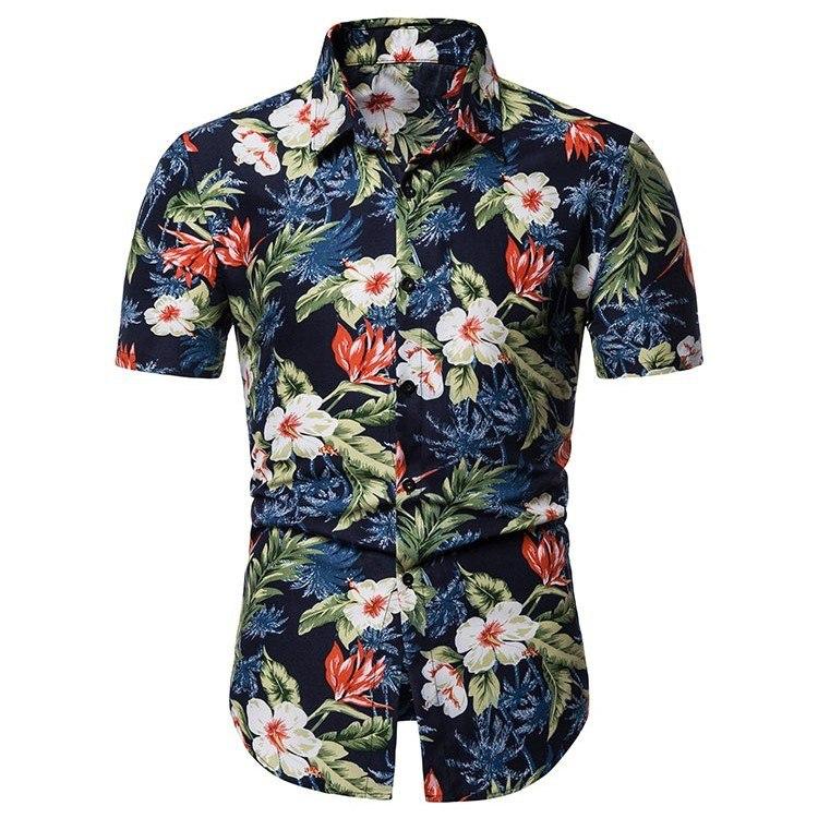 Kemeja Batik Corak Bunga Lelaki Men\'s Casual Summer Floral Shirt Code-31