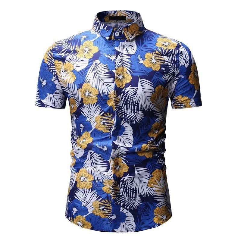 Kemeja Batik Corak Bunga Lelaki Men\'s Casual Summer Floral Shirt Code-29