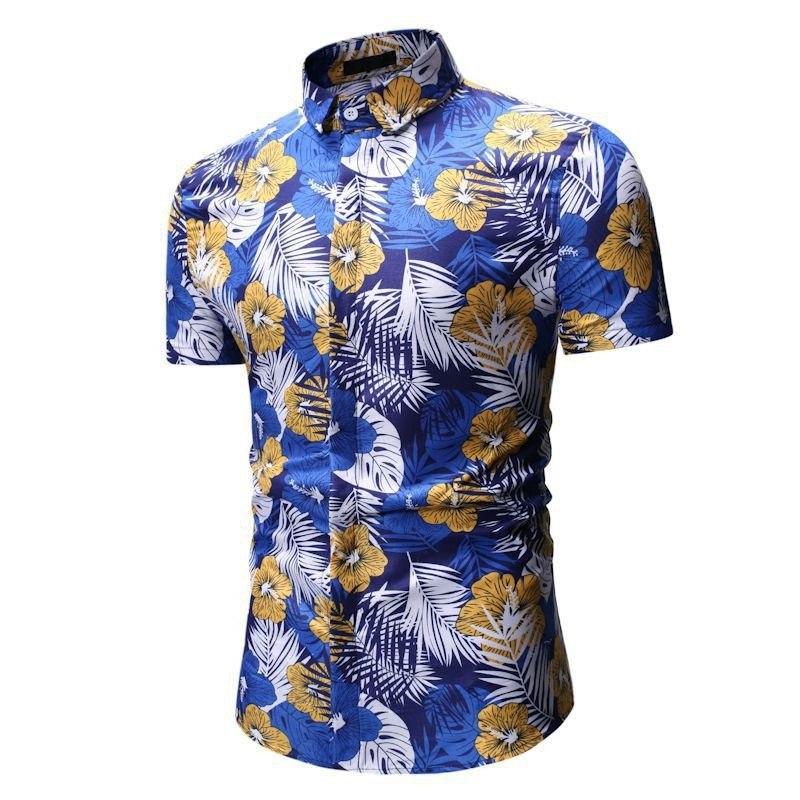 Kemeja Batik Corak Bunga Lelaki Men's Casual Summer Floral Shirt Code-29