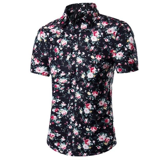 Kemeja Batik Corak Bunga Lelaki Men\'s Casual Summer Floral Shirt Code-26