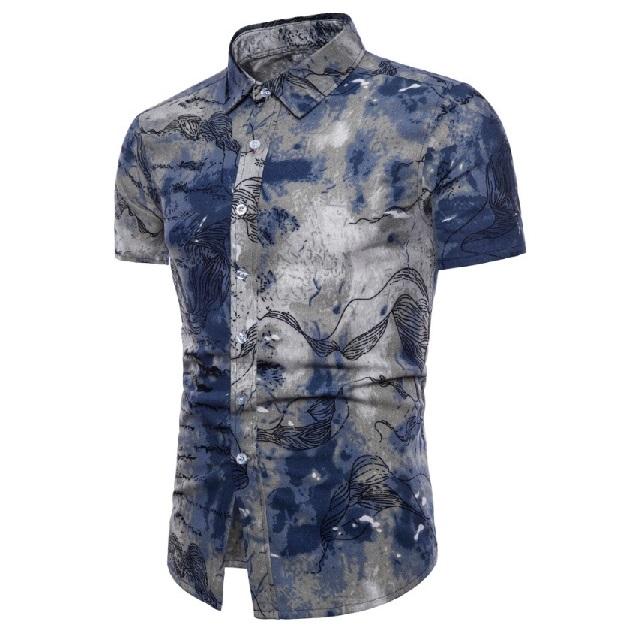 Kemeja Batik Corak Bunga Lelaki Men\'s Casual Summer Floral Shirt Code-16