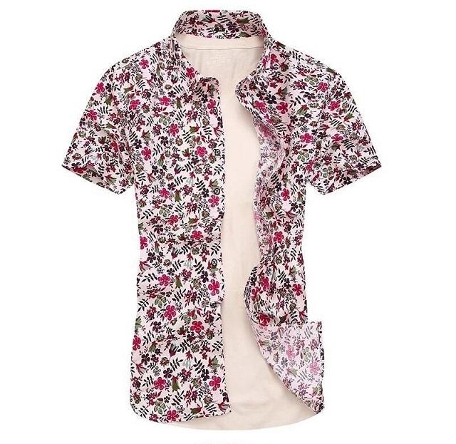 Kemeja Batik Corak Bunga Lelaki Men\'s Casual Summer Floral Shirt Code-14