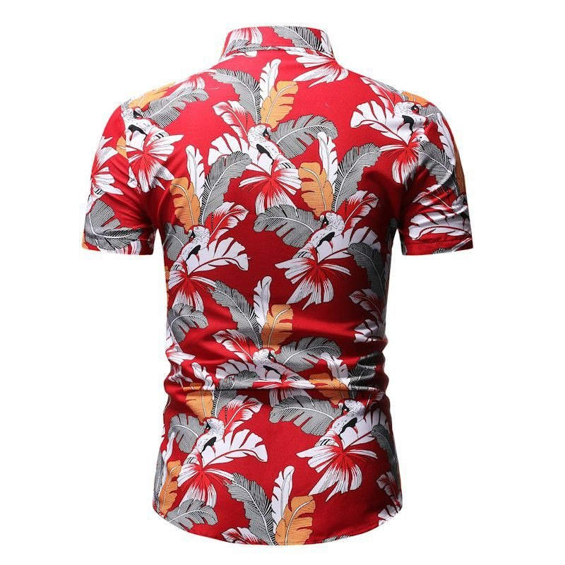 Kemeja Batik Corak Bunga Lelaki Men's Casual Summer Floral Shirt Code-35