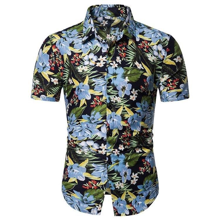 Kemeja Batik Corak Bunga Lelaki Men\'s Casual Summer Floral Shirt Code-33