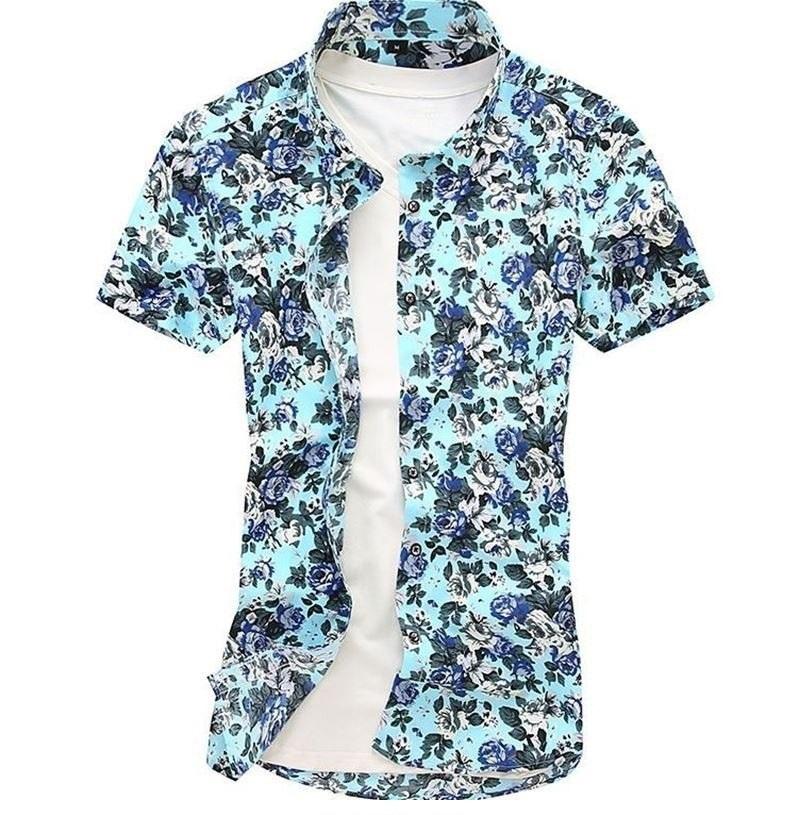 Kemeja Batik Corak Bunga Lelaki Men\'s Casual Summer Floral Shirt Code-10