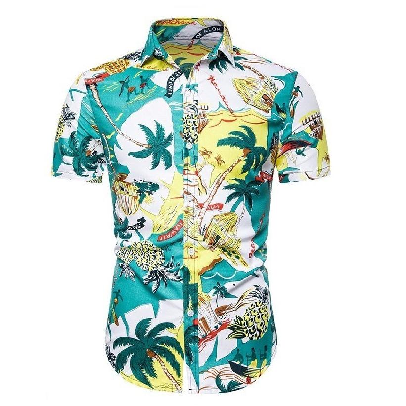 Kemeja Batik Corak Bunga Lelaki Men\'s Casual Summer Floral Shirt Code-40