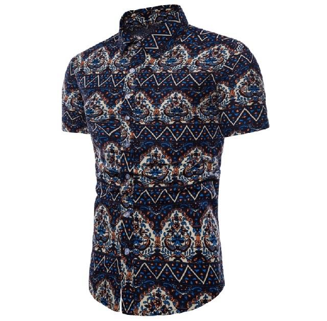 Kemeja Batik Corak Bunga Lelaki Men\'s Casual Summer Floral Shirt Code-17
