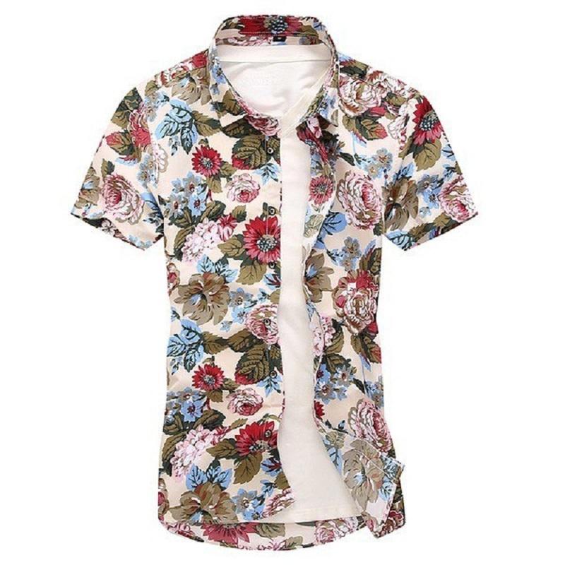 Kemeja Batik Corak Bunga Lelaki Men\'s Casual Summer Floral Shirt Code-11
