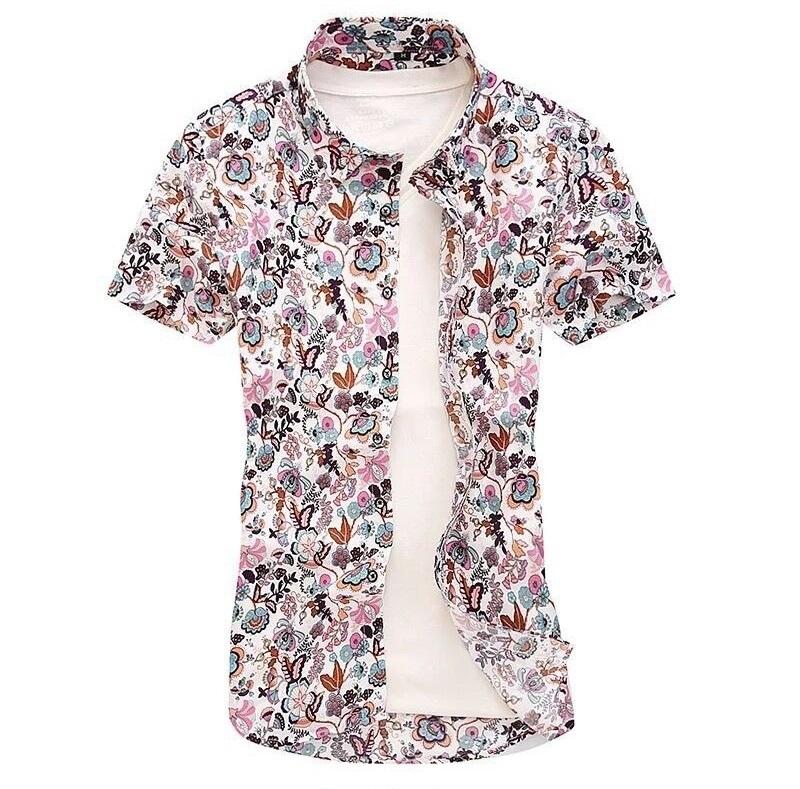 Kemeja Batik Corak Bunga Lelaki Men\'s Casual Summer Floral Shirt Code-13