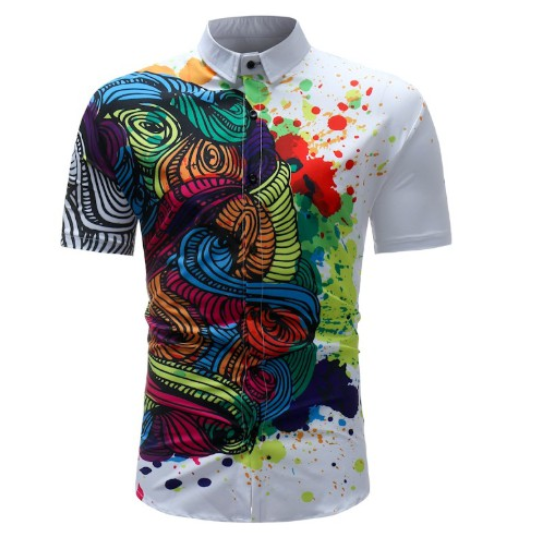 Kemeja Batik Corak Bunga Lelaki Men\'s Casual Summer Floral Shirt Code-55