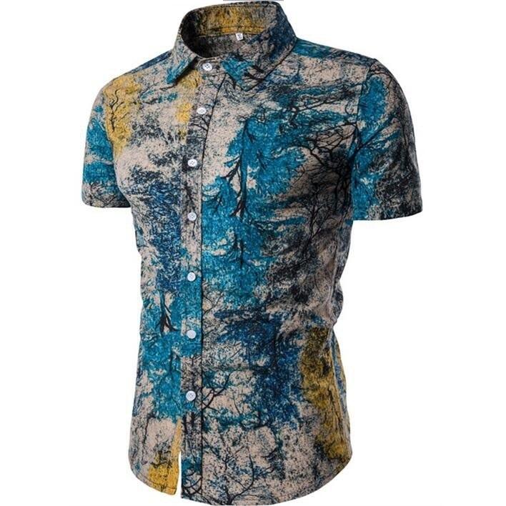 Kemeja Batik Corak Bunga Lelaki Men\'s Casual Summer Floral Shirt Code-60