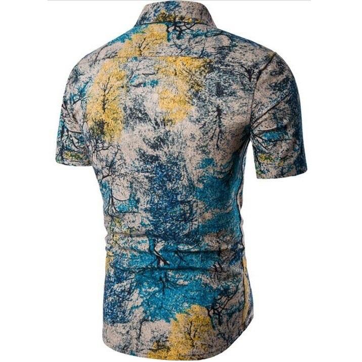 Kemeja Batik Corak Bunga Lelaki Men's Casual Summer Floral Shirt Code-60