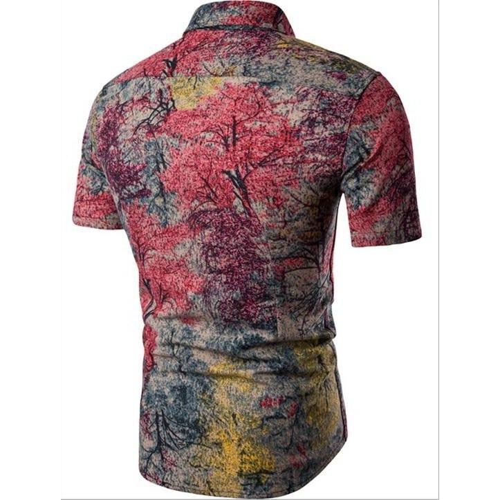 Kemeja Batik Corak Bunga Lelaki Men's Casual Summer Floral Shirt Code-61