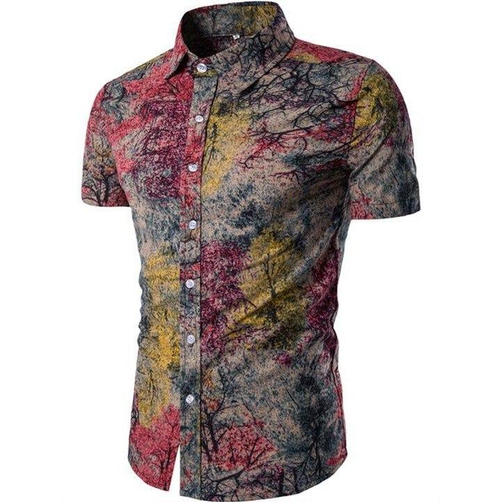 Kemeja Batik Corak Bunga Lelaki Men\'s Casual Summer Floral Shirt Code-61