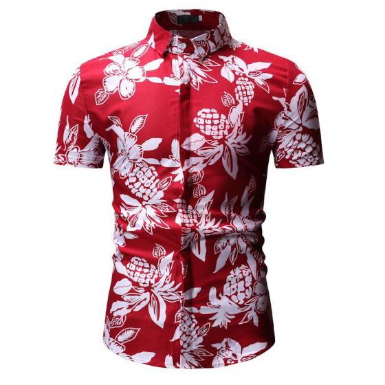Kemeja Batik Corak Bunga Lelaki Men\'s Casual Summer Floral Shirt Code-67