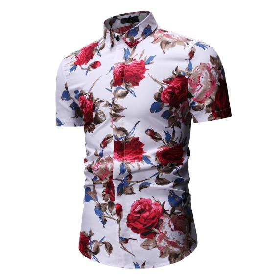 Kemeja Batik Corak Bunga Lelaki Men's Casual Summer Floral Shirt Code-68