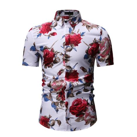 Kemeja Batik Corak Bunga Lelaki Men\'s Casual Summer Floral Shirt Code-68
